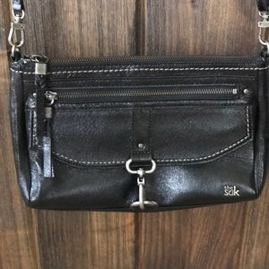 EUC The Sak black leather cross body purse